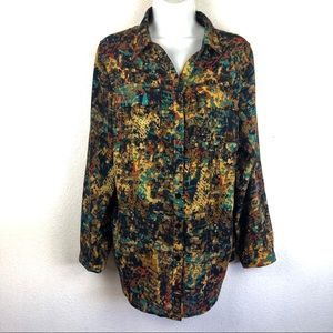 CJ Banks Long Sleeve Button Up Shirt 2 Pockets